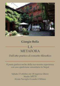 locandina dell'evento con Giorgio Bolla sul naviglio a Milano