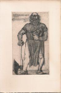 incisione di De Micheli rappresentante grosso omone con armatura del trecento