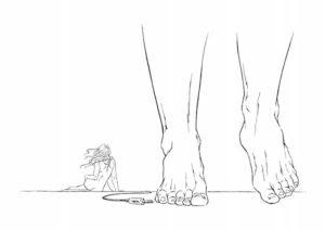 disegno con piedi e donna piccola