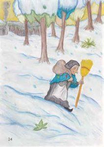 nella vera storia della befana, si incammina nella neve