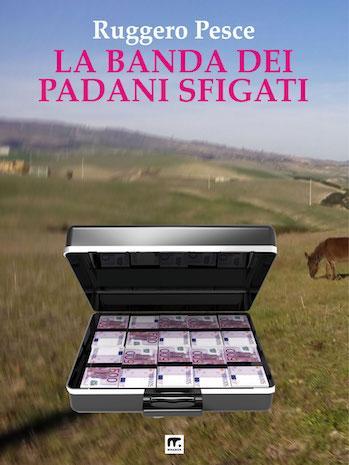 libro giallo divertente con valgetta di soldi su sfondo di mucche padane al pascolo