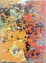 un quadro di renzi macchie colore rosso e giallo senape