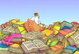 disegno di barca con rematore che naviga in un mare di libri