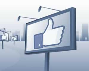 tabellone pubblicitario con manina facebook