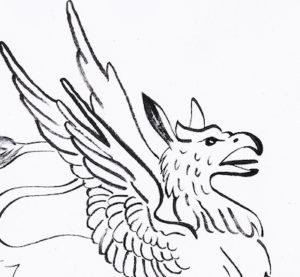 testa di uccello corpo con le ali